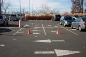 Figure 6, Cones indicating horizontal AS/SVE well positions under the parking lot